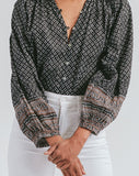 Alicia Blouse Tops Cleobella, woodblock blouse, long sleeve blouse