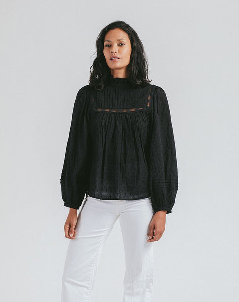 Amita Blouse Black Tops Cleobella, black blouse, high neck, long sleeve blouse