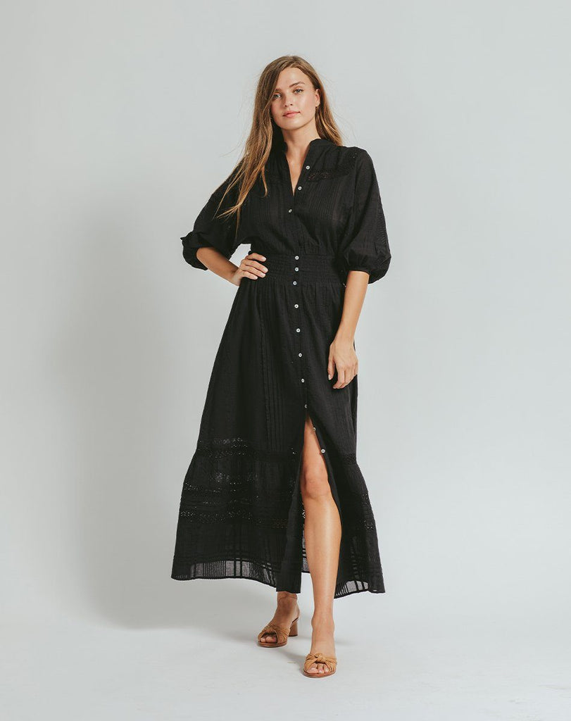 BIJOU MIDI DRESS BLACK Dresses Cleobella