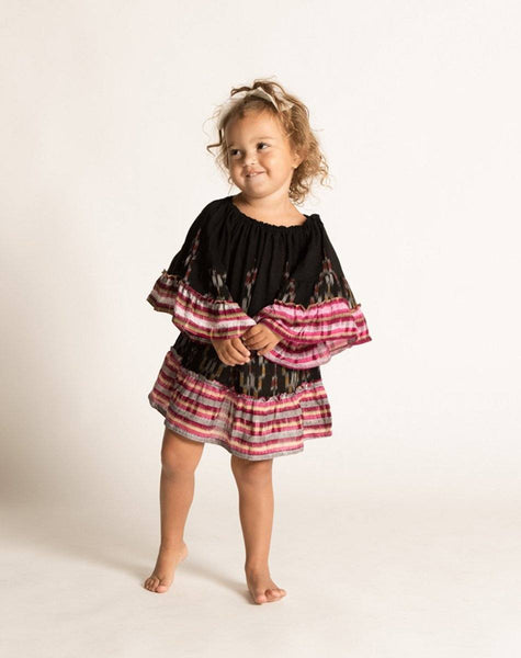 BONNIE DRESS BLACK IKAT Dresses Cleobella Littles