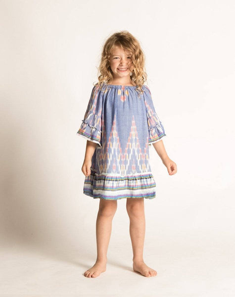BONNIE DRESS INDIGO IKAT Dresses Cleobella Littles