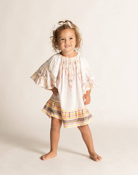 BONNIE DRESS WHITE IKAT Dresses Cleobella Littles