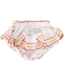 BRIXIE RUFFLE BLOOMERS Bottoms Cleobella Littles White Ikat 1