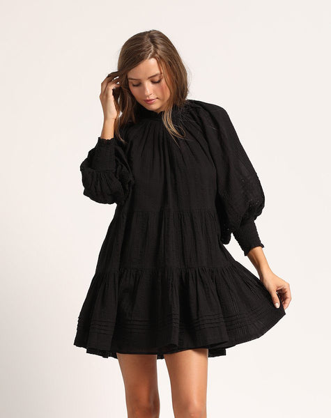 ETHERAL MINI DRESS BLACK Dresses Cleobella