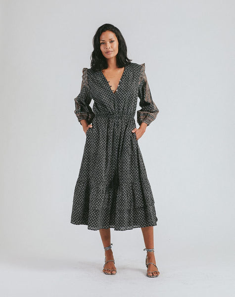 Ivy Midi Dress Dresses Cleobella, woodblock print midi dress, long sleeve midi dress