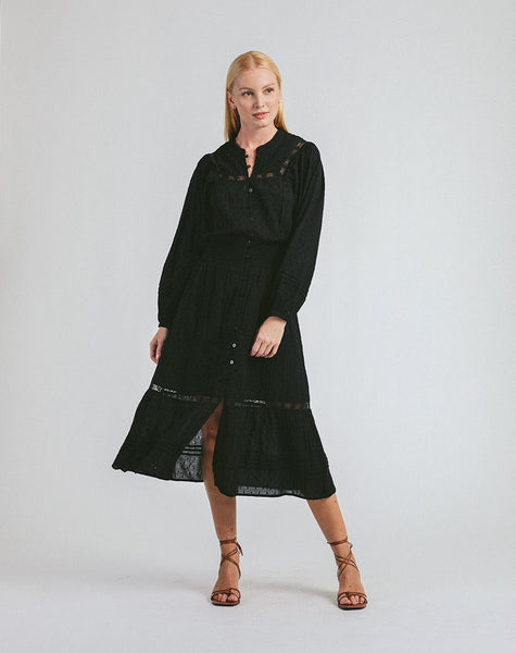 Kamela Midi Dress Black Dresses Cleobella, black midi dress, long sleeve midi dress