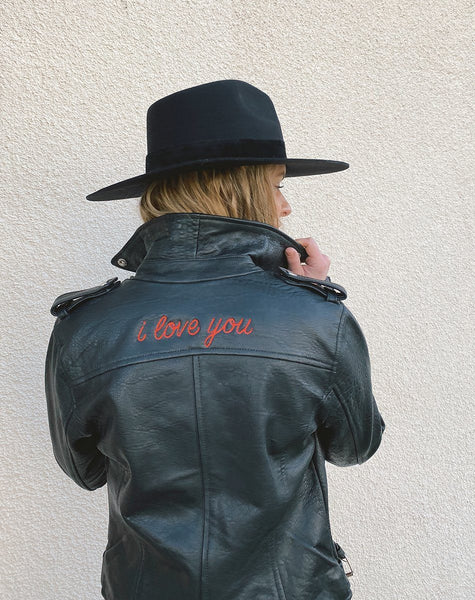 "Limited Edition ""i love you"" ASHER LEATHER JACKET Jackets Cleobella"