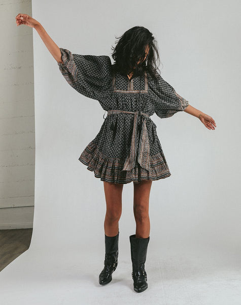 Magdalena Mini Dress Mudra Dresses Cleobella, woodblock print mini dress, half sleeve mini dress
