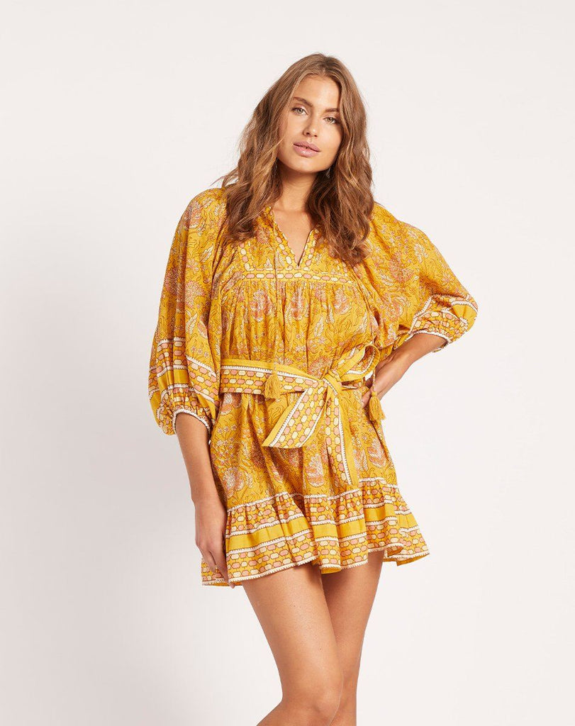 MAGDALENA MINI DRESS TURMERIC Dresses Cleobella