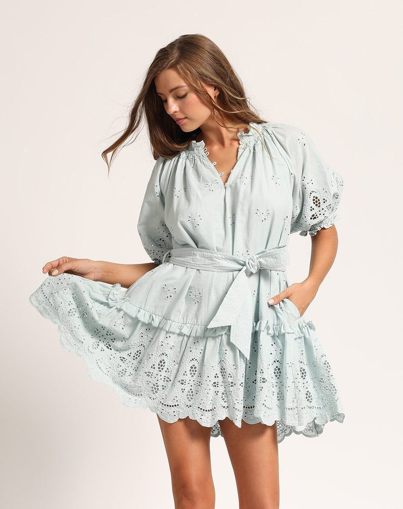 NEVAH MINI DRESS SKY Dresses Cleobella