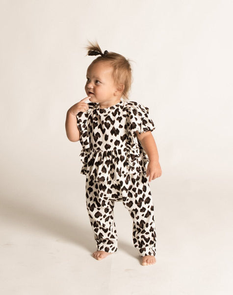 RILEY HAREM PANT WHITE LEOPARD Bottoms Cleobella Littles
