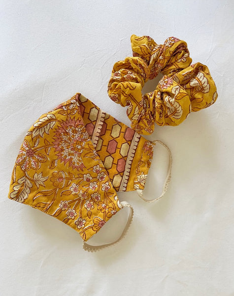 Woodblock Mask + Scrunchie Turmeric Accessories Cleobella