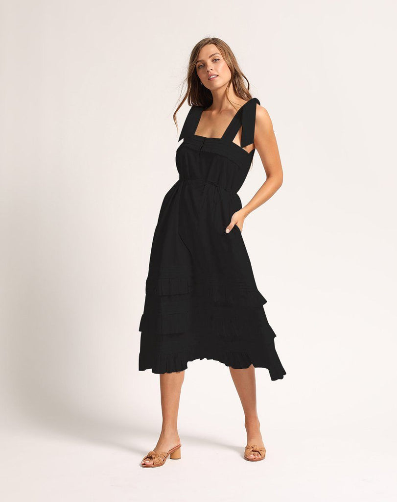 ZANE MIDI DRESS BLACK Dresses Cleobella