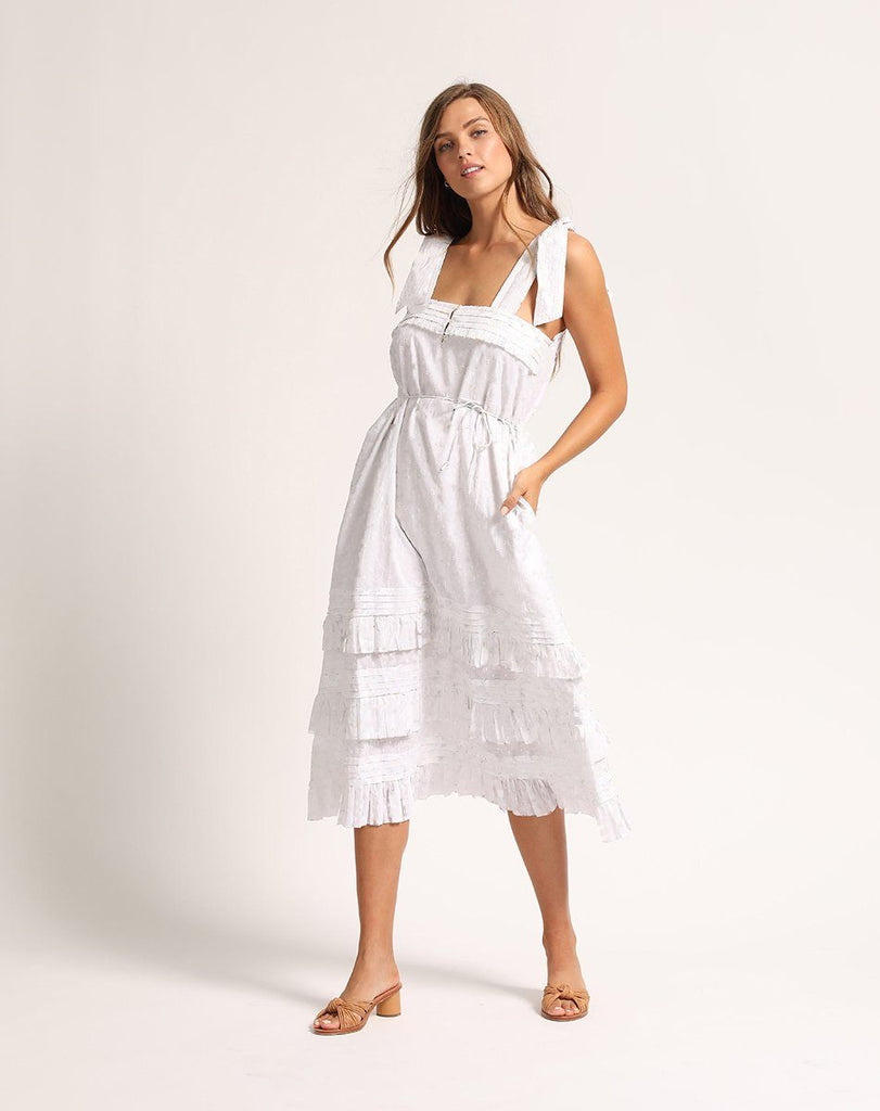 ZANE MIDI DRESS WHITE Dresses Cleobella