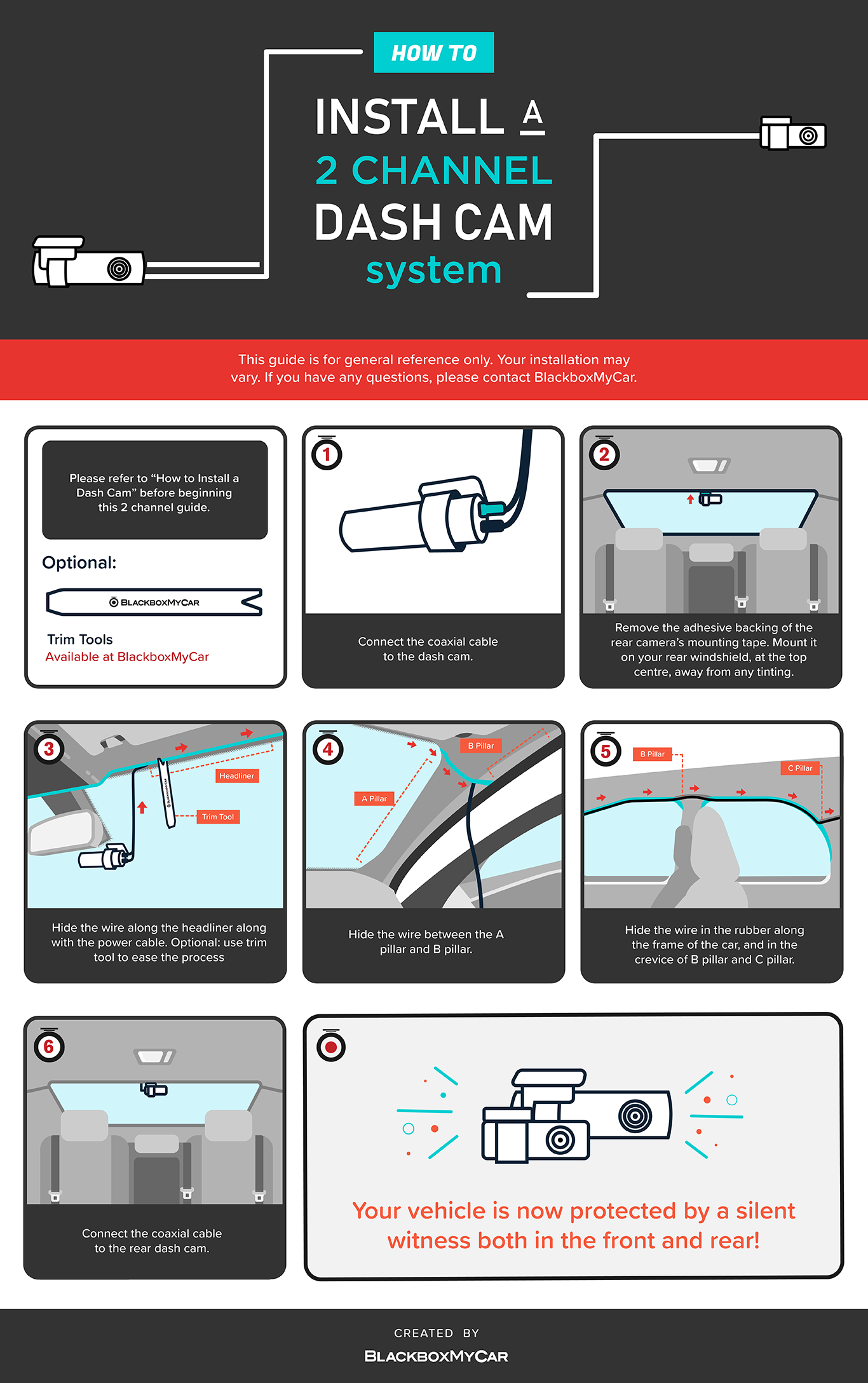 How to: Infographic Series #4 - Install 2 Channel Dash Cams