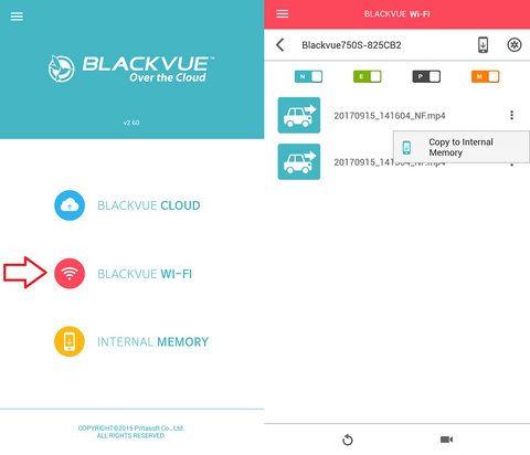 blackvue dr750s-2ch wifi home screen