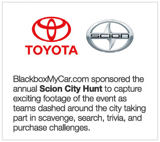 BlackboxMyCar.com sponsored the annual Scion City Hunt to capture exciting footage of the event as teams dashed around the city taking part in scavenge, search, trivia, and purchase challenges.
