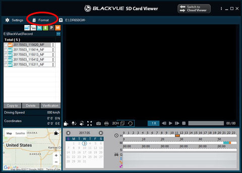 Formatting your Micro SD Card through BlackVue Viewer