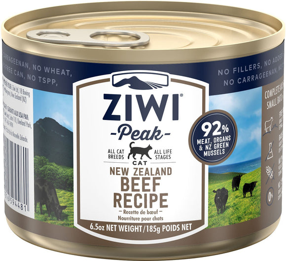 Ziwi Peak Moist Beef For Cats 12  6.6 oz. cans - Pet Food Online by Naturally Urban