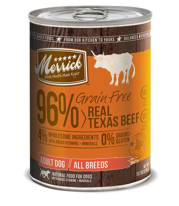 Merrick Grain Free 96% Real Texas Beef 12 x 13.2 Oz Cans - Naturally Urban Pet Food Shipping