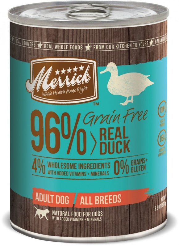 Merrick Grain Free 96% Real Duck 12 x 13.2 Oz Cans - Naturally Urban Pet Food Shipping