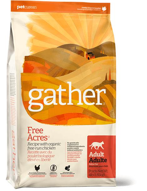 Gather - Free Acres -  Organic Free-Run Chicken Recipe for Adult Cats 8 lbs. - Naturally Urban Pet Food Shipping