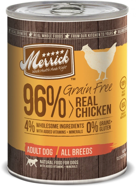 Merrick Grain Free 96% Real Chicken 12 x 13.2 Oz Cans...-Merrick-Pet Food Online by Naturally Urban