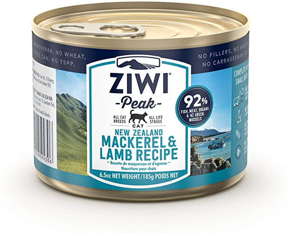 Ziwi Peak Moist Mackerel & Lamb For Cats 12  6.6 oz. cans - Naturally Urban Pet Food Shipping