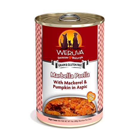 Weruva Marbella Paella with Mackerel & Pumpkin in Aspic  12 x 14 oz cans - Naturally Urban Pet Food Shipping