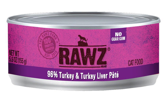 RAWZ 96% Turkey and Turkey Liver Pate for Cats 24 x 156 gr - Naturally Urban Pet Food Shipping