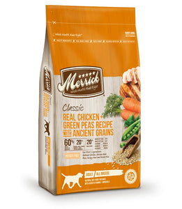 Merrick Classic Real Chicken + Green Peas with Ancient Grains 25 lbs. bag - Pet Food Online by Naturally Urban