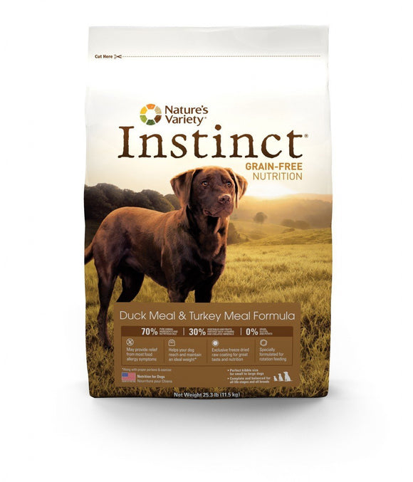 Nature's Variety Instinct Grain-Free   Duck Meal and Turkey Meal Formula for Dogs  20 lbs. bag - Pet Food Online by Naturally Urban