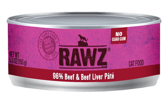 RAWZ 96% Beef and Beef Liver Pate for Cats 24 x 156 gr - Naturally Urban Pet Food Shipping