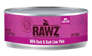 Rawz 96% Duck & Duck Liver Pate 24 x 5.5 oz cans for cats - Naturally Urban Pet Food Shipping