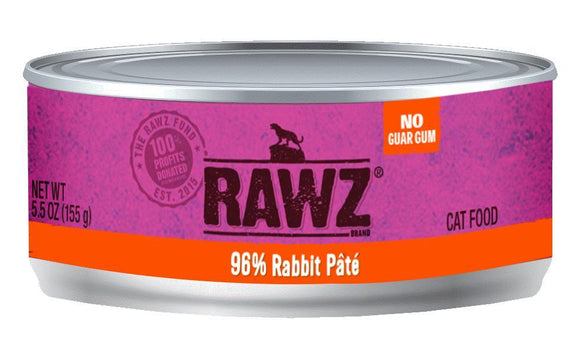 Rawz 96% Rabbit Pate 24 x 5.5 oz cans for cats - Naturally Urban Pet Food Shipping