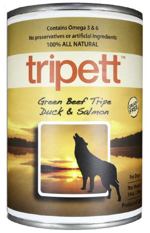 Tripett Green Beef Tripe  Duck & Salmon 12 x 396 gr cans - Pet Food Online by Naturally Urban