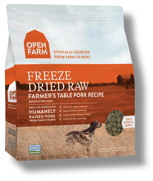 Open Farm Farmer's Table Pork Freeze Dried Raw Dog Food 13.5 oz. - Naturally Urban Pet Food Shipping
