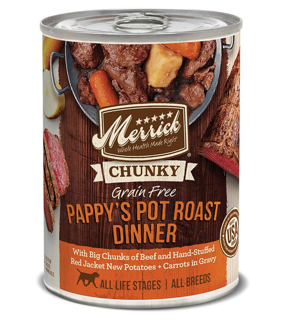 Merrick's Pappy Pot Roast Dinner in Gravy 12 x 13 oz cans - Naturally Urban Pet Food Shipping