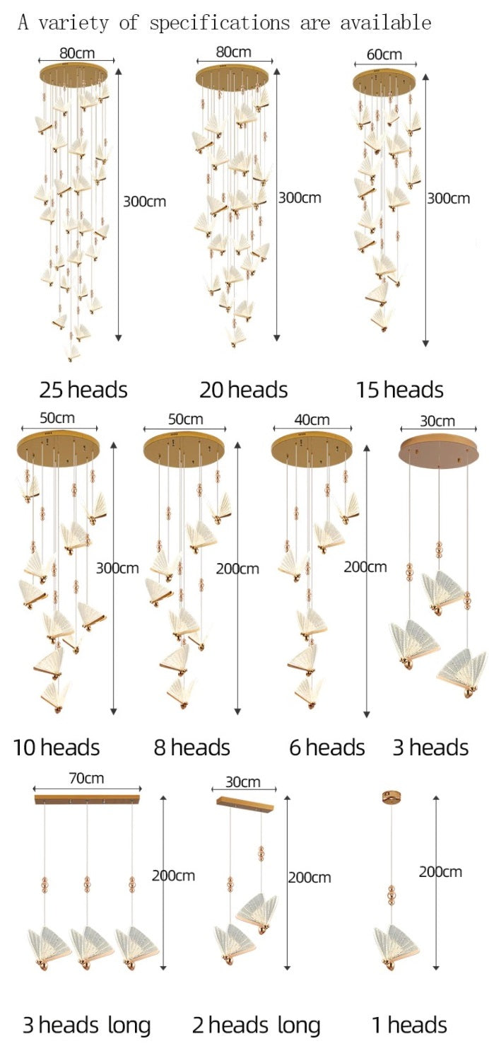 Butterfly Stair Chandelier Dining Room Ceiling Pendant Light Exhibition Hall Attic Large Chandelier