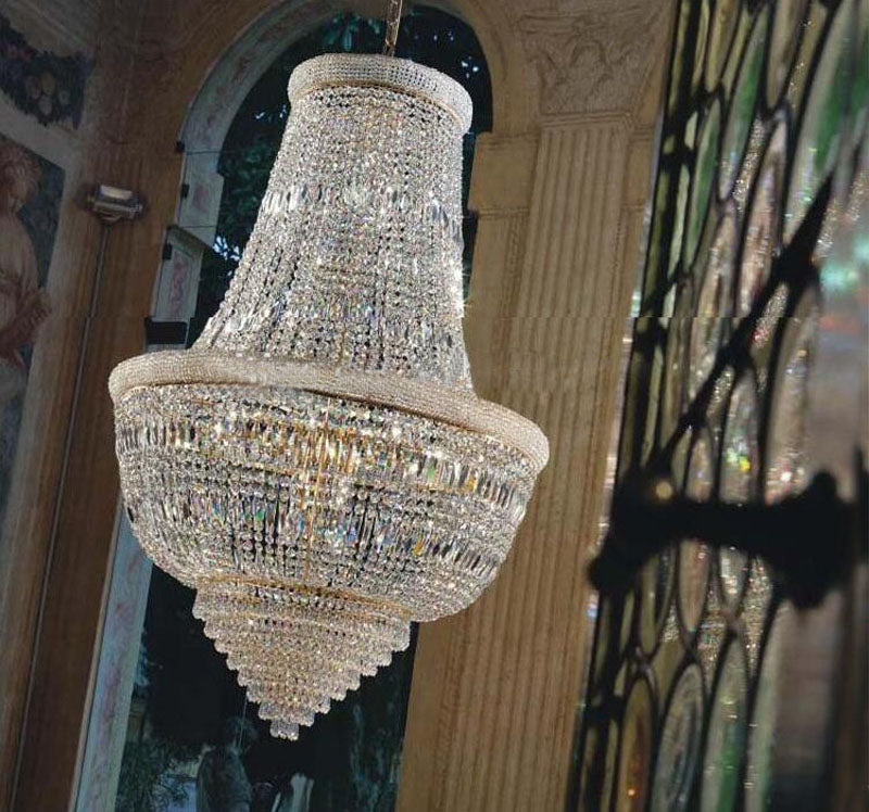 Lighting Large Foyer Entryway Crystal Chandelier French Empire Gold Crystal Chandeliers