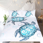 3-Piece Cartoon Turtles Bedding Set Tortoise Duvet Cover Marine Animal Home Textiles Blue and White Bedclothes