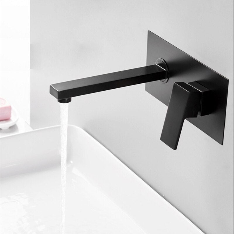 Luxury Matte Black Bathroom Faucet Basin Sink Tap Wall Mounted Square Brass Mixer Tap