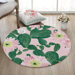 Cactus Potted Printing Coral Velvet Round Floor Mats Living Room Table Carpets Colorful Anti-Slip Bedroom Decor Rug