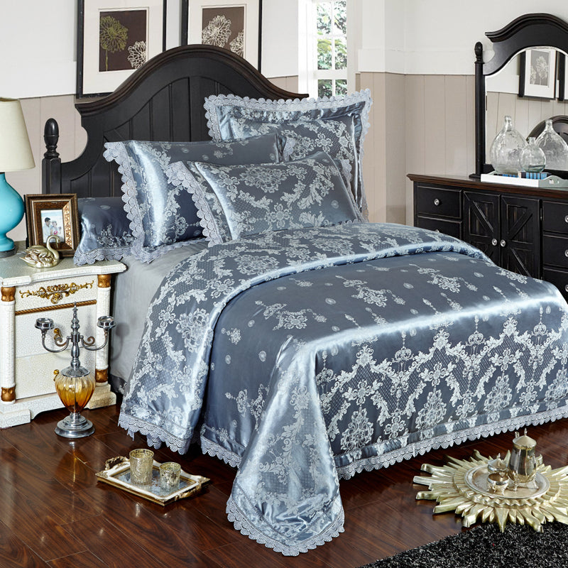 Silver Gold Blue Lace Jacquard Luxury Bedding Sets Queen King Size Bed Cover Silk Cotton Bed Sheet Set Duvet Cover Pillowcases