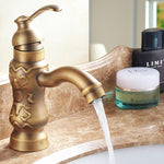 High Quality Antique Luxury Art Carved Bathroom Single Lever Design Sink Faucet Basin Faucet Tap Mixer