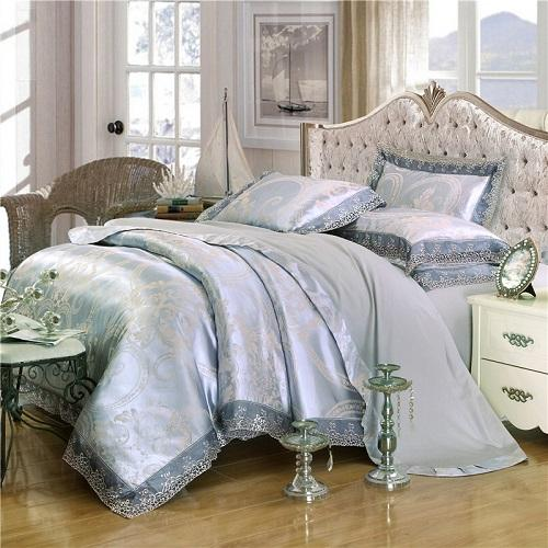 Coffee Jacquard Luxury  White Silver Bedding Set Queen/king Size Bed Set 4pcs Cotton Silk Lace Duvet Cover Fitted/bed Sheet Sets