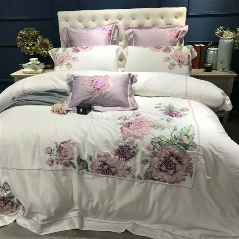 Luxury White Egyptian Cotton Embroidery Duvet Cover Set 4/7 Pieces Double Queen King Size Bedding Set Bedsheet Set Bed Set