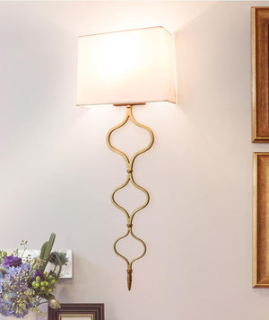 American Retro Wall Lamp Living Room Simple Fabric Bedroom Bedside Lamp Wall Light Sconce