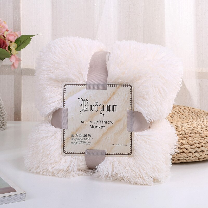 Luxury Long Plush Blanket Flannel Shaggy Cover Blanket Fleece Super Soft Warm Winter Throws for Bed Sofa Travel