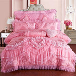 Red Pink Jacquard Wedding Bedding Sets 4/6/9pcs Queen King Size Duvet Cover Set Lace Luxury Bedlinen Bedspread